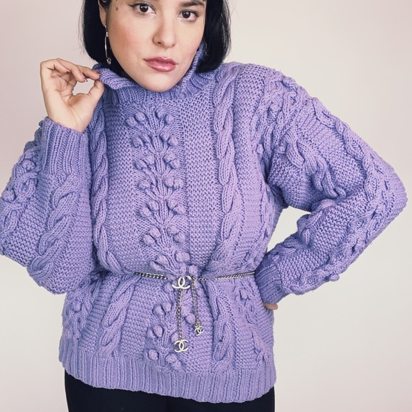 Vintage 80s Oversized Lavender Knit Sweater